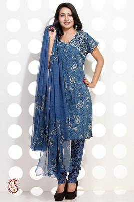 Block Printed Cotton Churidar Suit