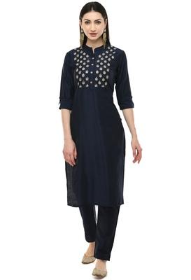 Lagi women straight embroidery kurta with plain solid pant(MC43A)