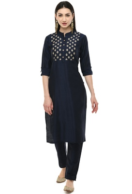 Lagi women straight embroidery kurta with plain solid pant(MC43D)