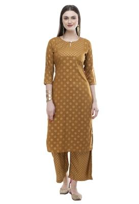 Lagi women straight floral embroidery rayon kurta with palazzo(MRP05)