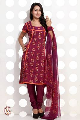 Burgundy Pink Block Printed Suit Set