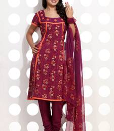 Buy Burgundy Pink Block Printed Suit Set salwars-and-churidar online