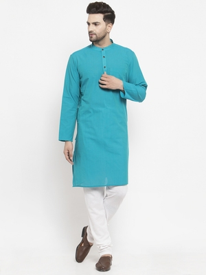Blue woven cotton men-kurtas