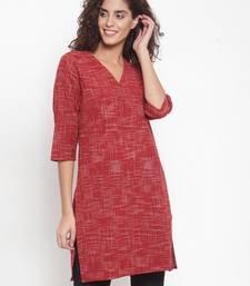 Red woven cotton kurtas-and-kurtis