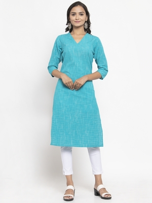 Blue woven cotton kurtas-and-kurtis