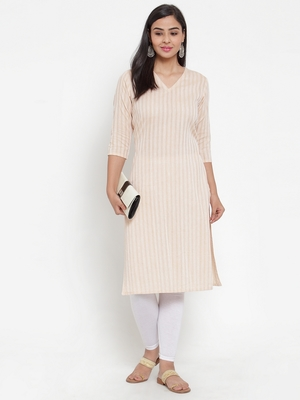 Beige woven cotton kurtas-and-kurtis