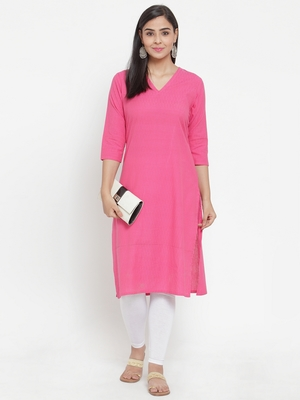 Pink woven cotton kurtas-and-kurtis