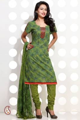 Pistachio Green Block Print Churidar set