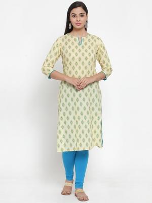 Cream printed cotton kurtas-and-kurtis
