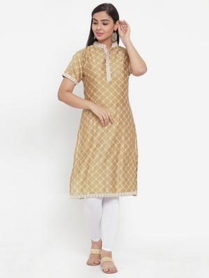 Brown printed cotton silk kurtas-and-kurtis