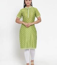 Olive printed cotton silk kurtas-and-kurtis
