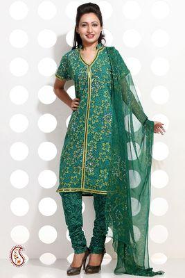 Spring Green Block print Cotton Suit