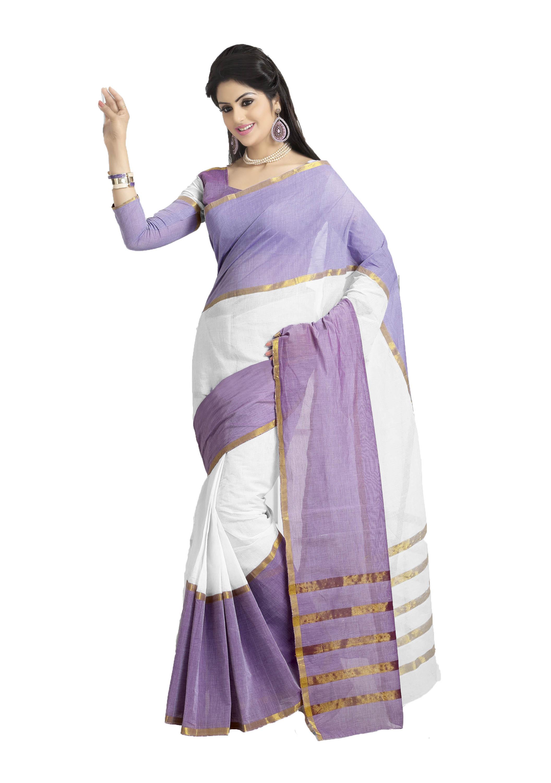 Buy White Plain Cotton Saree With Blouse Online Kemeja Lavender Contrast Multicolor Shop At Velvet