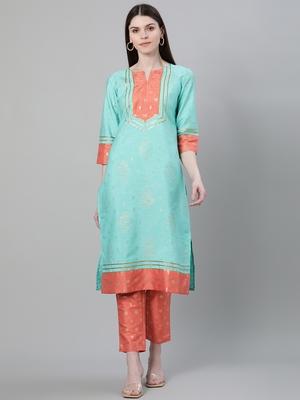 Turquoise printed art silk kurtas-and-kurtis