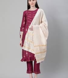 Purple printed art silk kurtas-and-kurtis