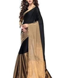 Black plain cotton saree with unstitched blouse piece shop online