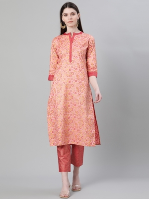 Pink printed art silk kurtas-and-kurtis