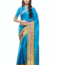 Buy Skyblue plain cotton saree with blouse cotton-saree online