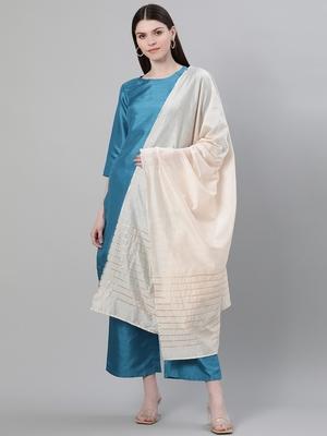 Blue plain art silk kurtas-and-kurtis