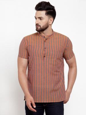 Brown Orange Striped Cotton H/S Short Kurta