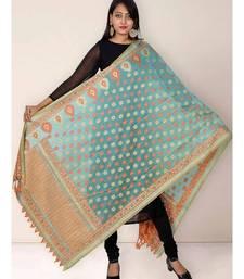 Sea Green Banarasi Cotton Silk Dupatta With Peach Weave