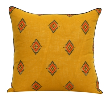 POSA Homes Yellow Printed Cotton Cushion Cover, Cushion Cover for Home Decor