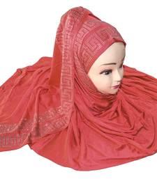 JSDC Women Peach Color Diamond Stone Work Scarf Hijab