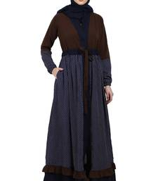 Classic front open abaya with polka dot- Coffee-Navy Blue