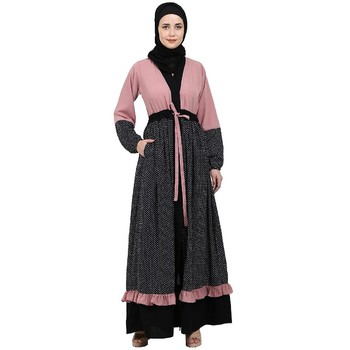 Classic front open abaya with polka dot- Pink-Black