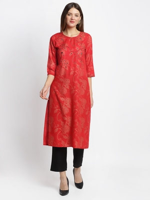 Red embroidered rayon ethnic-kurti Set with Pant