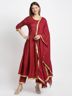 Red embroidered cotton ethnic-kurta pant set With Dupatta
