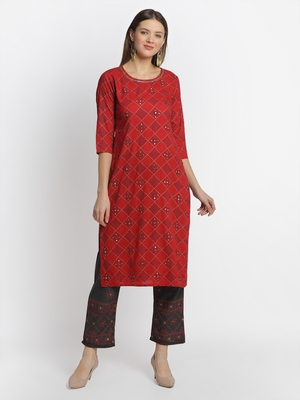 Red embroidered rayon ethnic-kurta pant set