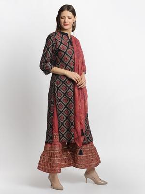Blue embroidered rayon ethnic-kurta pant set with dupatta