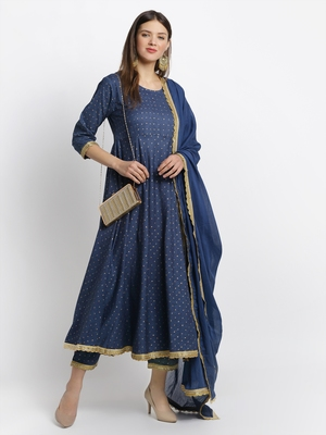 Blue embroidered cotton ethnic-kurta pant set with dupatta