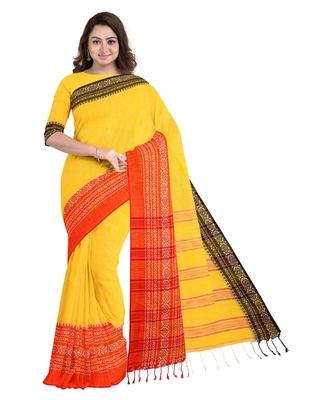 Handwoven Pure Khadi BegumPuri Ganga Jamuna Mahapaar Saree with Blouse Piece (Yellow Red and Black)