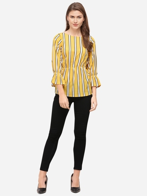 Yellow printed crepe party-tops
