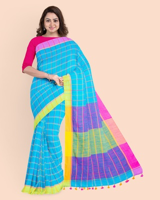Handloom Multicolored Checkered Khadi Saree with Pompom and Running Blouse Piece