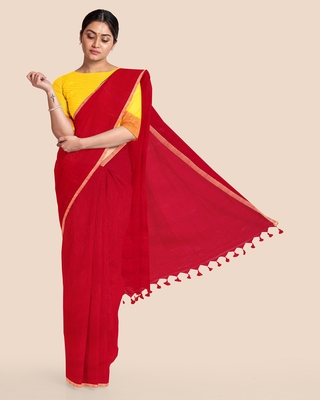 Khadi Handloom Zari Border Saree with Blouse Piece (Red)