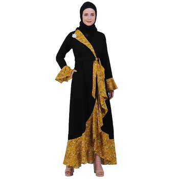 Designer abaya with printed frills- Black-Mustard