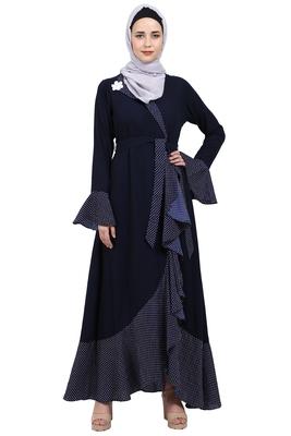 Designer abaya with Polka dotted frills- Navy Blue