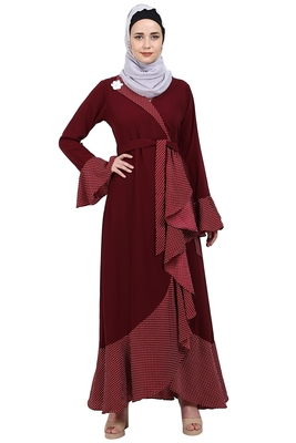 Designer abaya with Polka dotted frills- Maroon
