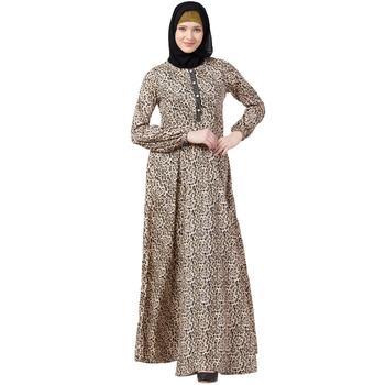 Animal printed casual abaya