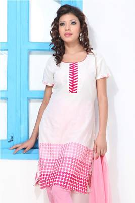 White and Pink Printed Cotton Churidar Suit