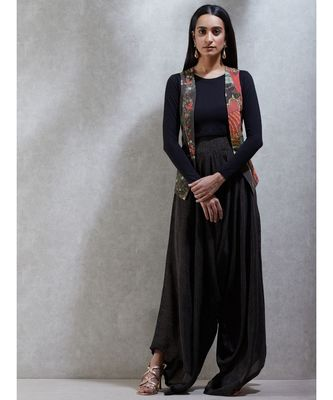 Round Neck Full Sleeves Beads/Seqns-Hand Emb Jacket With Jersey Top And Japanese Pant