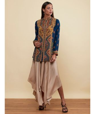 Band Collar Full Sleeves Navy/Multi Floral/Tropical Kurti