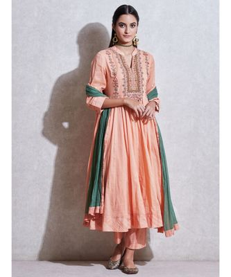 Peach Embroidered Anarkali Kurta with Pant and Dupatta