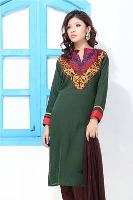 Hunter's Green Faux Georgette Embroidery Suit