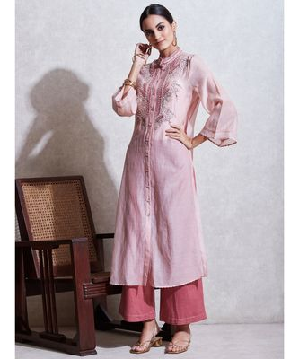 Band Collar 3/4 Sleeve Long Solid Embroidered Kurta With Camisole And Trouser