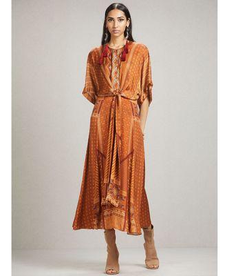 Round Neck Half Sleeve Long Printed Dress With Waist Tie