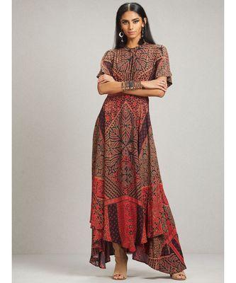 Round Neck Half Sleeve Printed Kaftan Style Dress